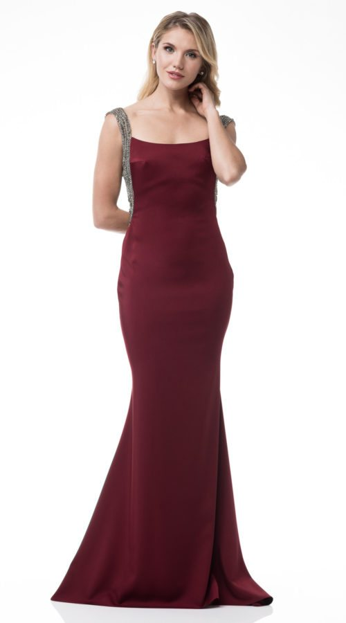 Bateau Neck Sleevless Sheat Trumpet Formal Dress