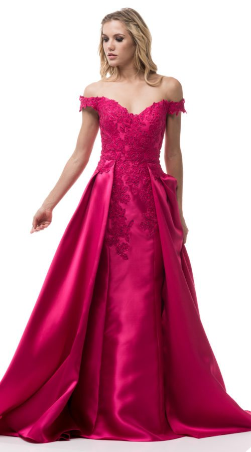 Off Shoulder A Line Ball Gown Fuchsia Red