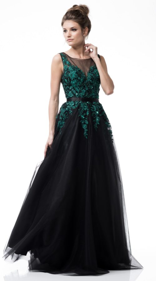 Green Bateau Neck Ball Gown
