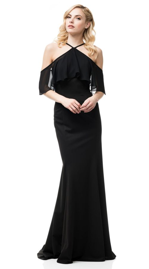 Halter Sheath Gown Black Sleeves
