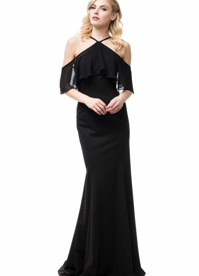 Halter Sheath Gown Black Sleeves