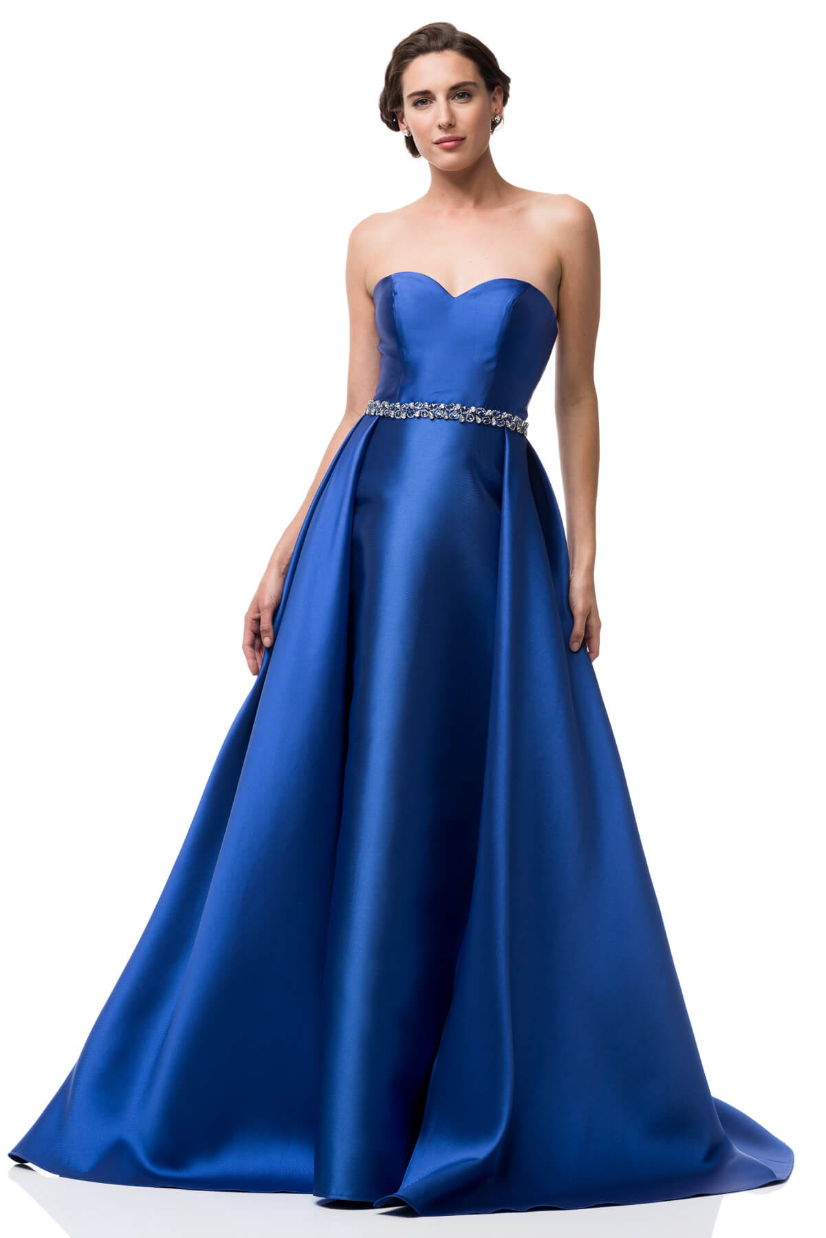 BEADED WAIST SWEETHEART STRAPLESS ROYAL BLUE BALL GOWN | Shangri-La ...