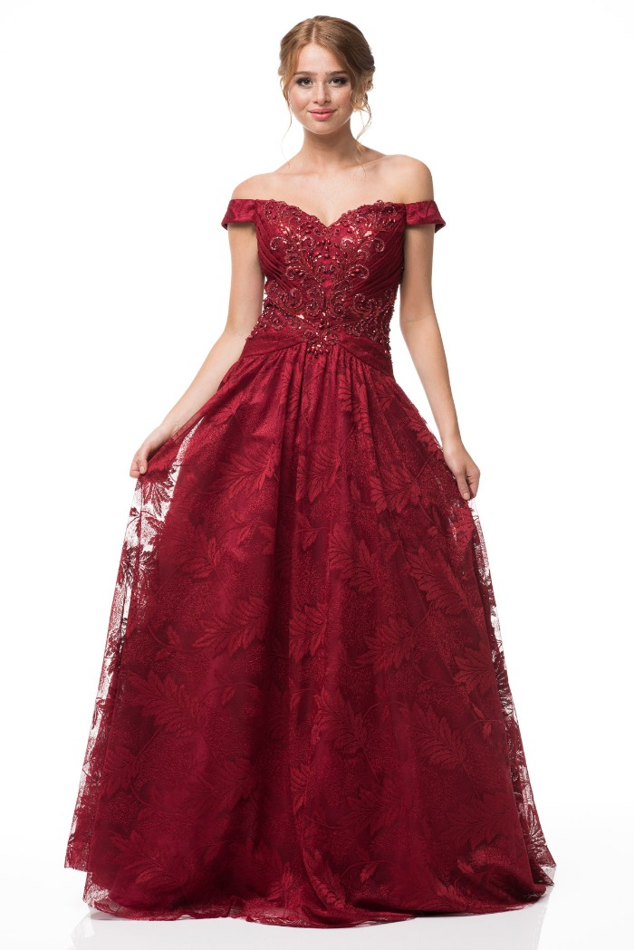 5c2a16d23ca Burgundy Off Shoulder Prom Dress Ball Gown
