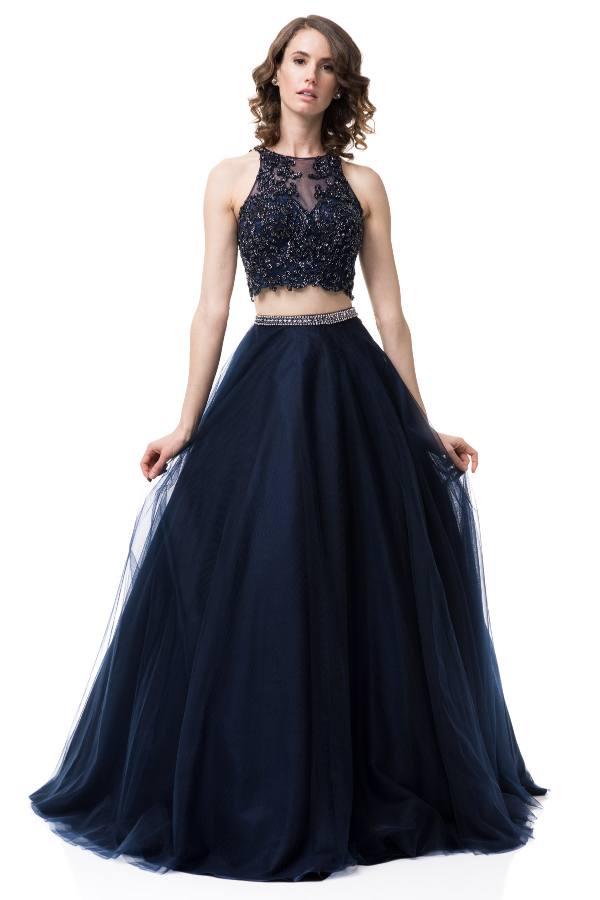 Two Piece Navy Blue Prom Dress